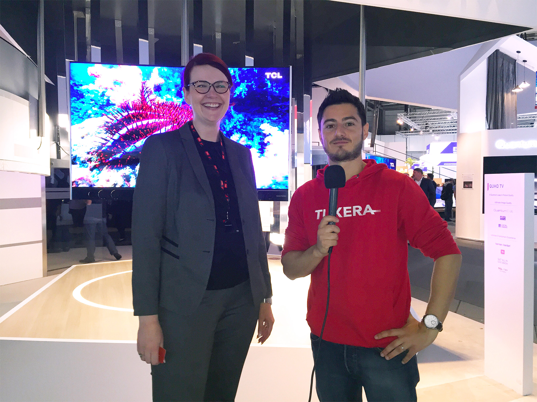 Tuxera's Claudio at TCL booth at IFA 16