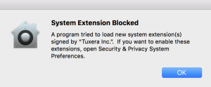 Tuxera NTFS for Mac blocked