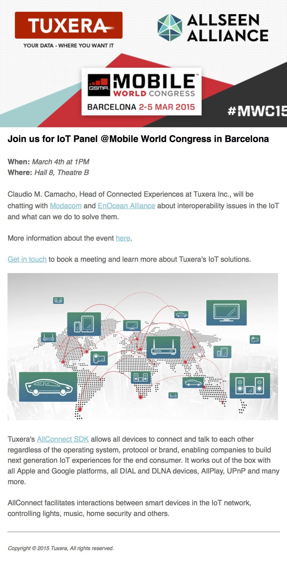 Invitation to Tuxera IoT Panel at AllSeen Alliance Track at Mobile World Congress